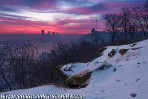 Distant Peaks Pittsburgh West End Winter Sunrise Blog