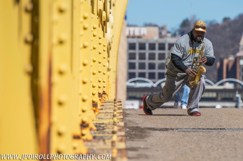 Pittsburgh Clemente Bridge Sax Man