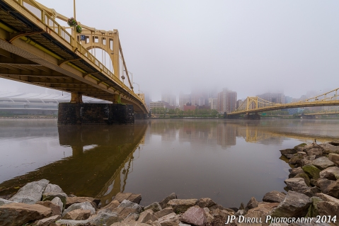 Fog and Rocks - Pittsburgh Skyline Photograph