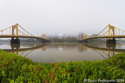 A four image panoramic captures both the Warhol and Rachel Carson bridges.