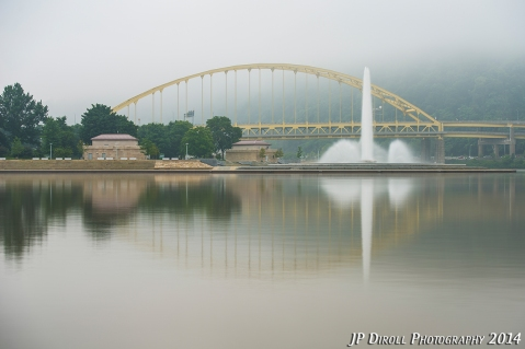 The calm waters provided the perfect setting for a foggy reflection of the fountain and Fort Pitt Bridge.  Anybody else see an outline of a fish?!
