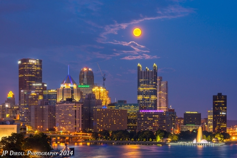 West End Moon - Pittsburgh Skyline Photograph