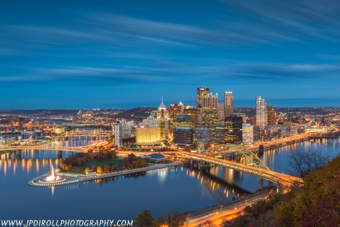 """8. """"Magic Mountain"""" from Mount Washington in Pittsburgh represents one of the few sunset/night sessions from 2014.  Plus...what's a countdown without a photo from Mt. Washington?"""