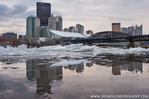 Pittsbrrrgh Pittsburgh Sunset Ice Reflection Frozen River blog