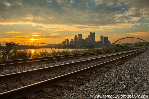 Right Track South Side Pittsburgh Sunrise Skyline blog