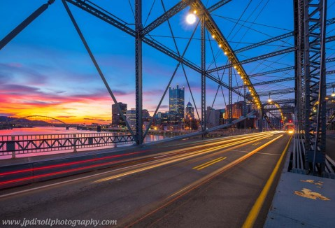 Smithfield Street Bridge Streaking Pittsburgh Sunset blog