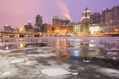 Iceburgh Pittsburgh North Shore Winter Ice Reflection blog